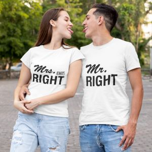 Komplet T-shirtów Mr. RIGHT, MRS. ALWAYS RIGHT