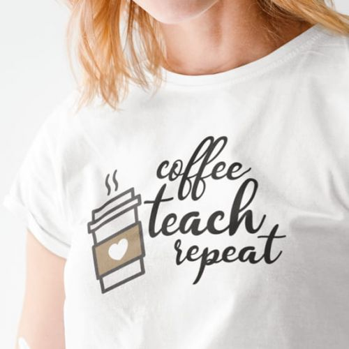 T-shirt Coffee Teach repeat